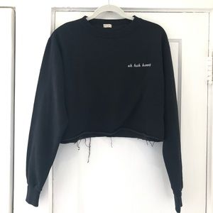Brand Melville Uh Huh Honey Black Sweater Crop Top